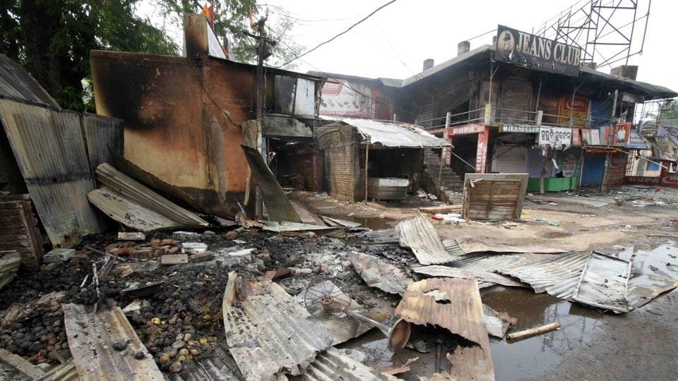 Shops destroyed in Bhadrak after communal clashes last year.