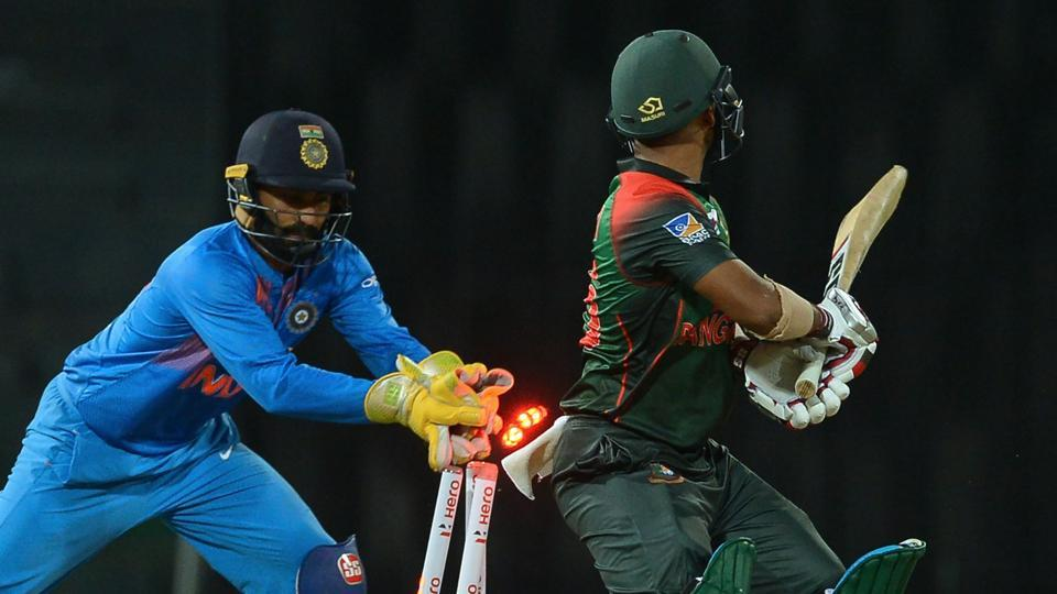 Indian wicketkeeper Dinesh Karthik (L) is keen for his side to beat Bangladesh in the final of the Nidahas Trophy 2018 T20 tri-series in Colombo on Sunday.