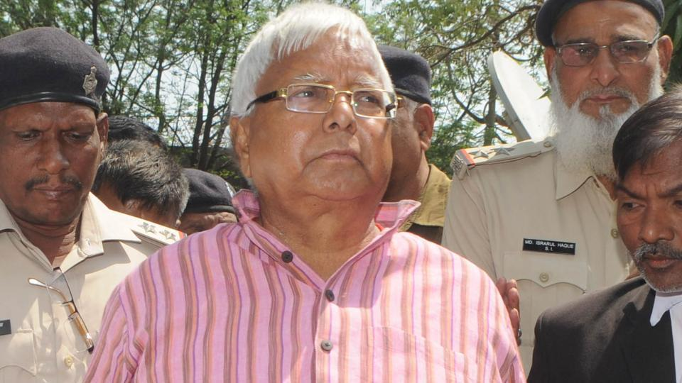 Convicted RJD president Lalu Prasad proceeds to appear before a special CBI court in connection with a fodder scam case at Civil court in Ranchi on March 8, 2018.