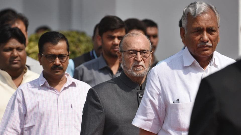 Delhi chief minister Arvind Kejriwal, lieutenant-governor Anil Baijal  and assembly speaker Ram Niwas Goel arrive for the budget session at the Vidhan Sabha in New Delhi on Friday.
