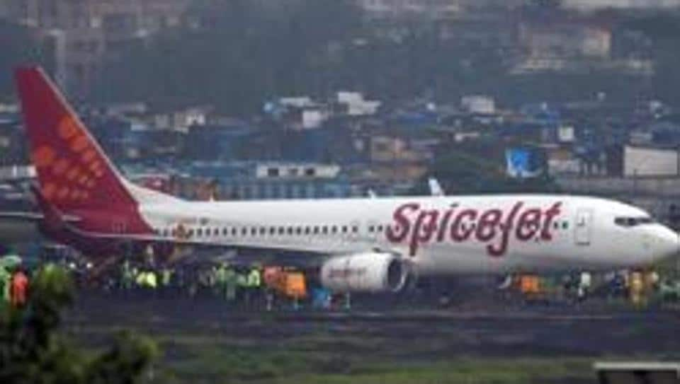 A SpiceJet passenger aircraft Boeing 737-800 is seen after it overshoot the runway while landing at Mumbai airport.