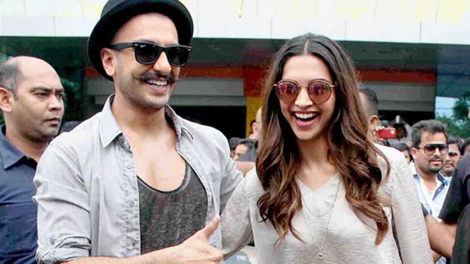 Ranveer Singh and Deepika Padukone at an event in Mumbai.