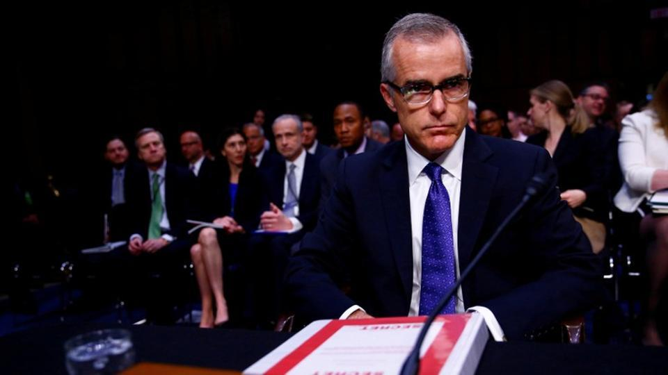 Acting FBI Director Andrew McCabe arrives to testify before the US Senate Select Committee on Intelligence on Capitol Hill in Washington.