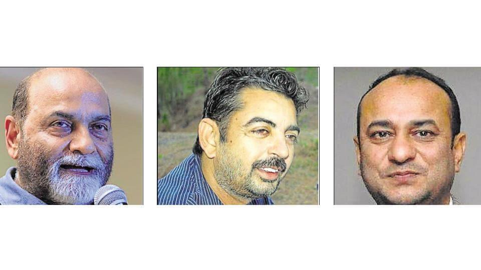 (Left to right) Founder of babushahi.com, Baljit Balli, Publisher of magazine Hun, Sushil Dosanjh and Punjabi writer Ninder Ghugianvi.