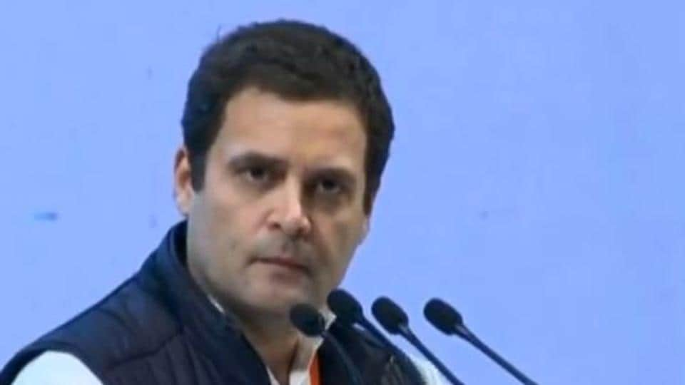 Rahul Gandhi speaking at the Congress Plenary Session.
