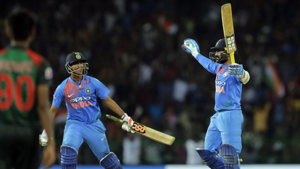Follow highlights of India vs Bangladesh, Nidahas Trophy tri-nation T20 final in Colombo here. Dinesh Karthik celebrates during the NIdahas Trophy T20 final between India and Bangladesh at the RPremadasa Stadium in Colombo on Sunday.