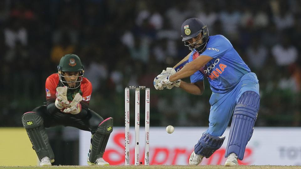 Rohit Sharma in action during the Nidahas Trophy T20 final between India and Bangladesh in Colombo.