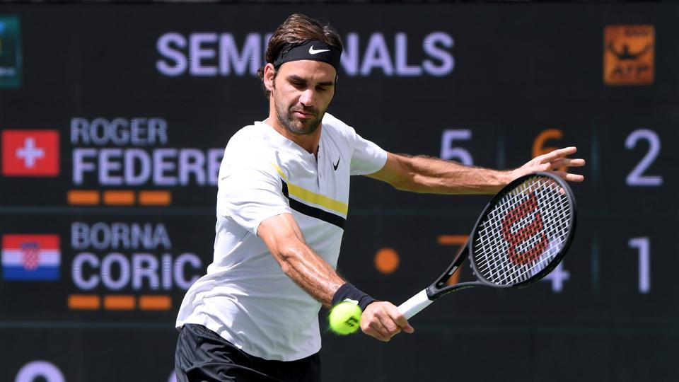 Roger Federer hits a backhand during his semi-final victory over Borna Coric during the BNP Paribas Open at the Indian Wells Tennis Garden on Saturday.