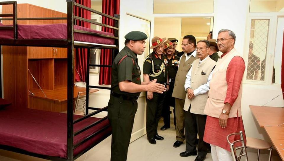 Army Chief Bipin Rawat  (second from left) with Uttarakhand chief minister TrivendraSingh Rawat  at the inauguration of Garhwal Rifles War Memorial Boys and Girls Hostel in Dehradun on Sunday.