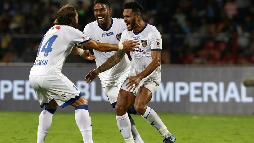 Raphael Augusto of Chennaiyin FC celebrates a goal during the final of Indian Super League against Chennaiyin FC t the Sree Kanteerava Stadium, Bengaluru, on Saturday.