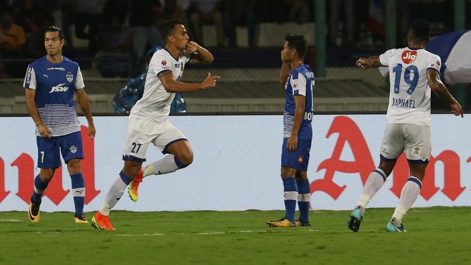 Mailson Alves of Chennaiyin FC celebrates a goal during the final of Indian Super League against Bengaluru FC at the Sree Kanteerava Stadium on Saturday.