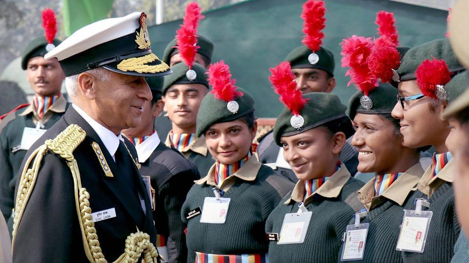 Navy chief Admiral Sunil Lanba interacts with cadets, during his visit to NCC Republic Day Parade Camp 2018, in New Delhi.