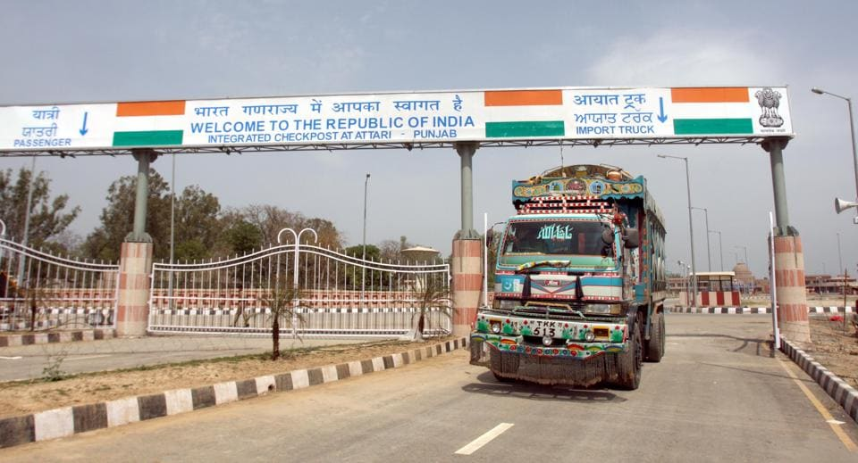 A Pakistani truck coming out from the Indian integrated check-post to go back to Pakistan after unloading the goods at Attari border.