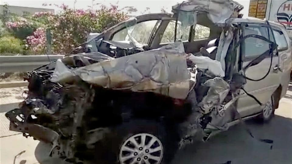 Mathura: The wreckage of a car that collided with a truck killing three doctors from the All India Institute of Medical Sciences  on the Yamuna Expressway near Mathura on Sunday morning.