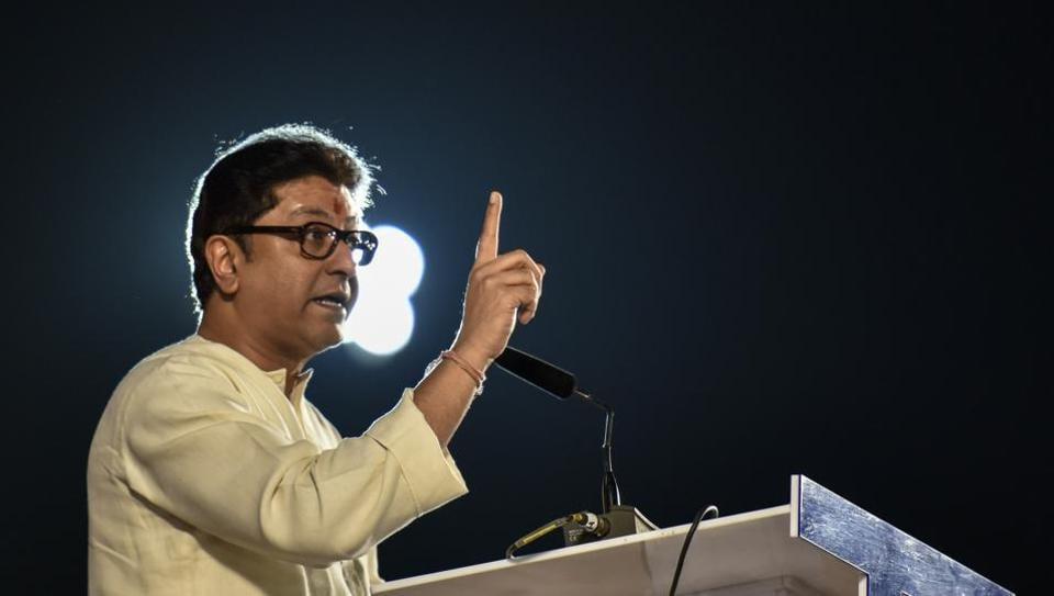 Raj Thackeray addresses a rally at Shivaji Park.