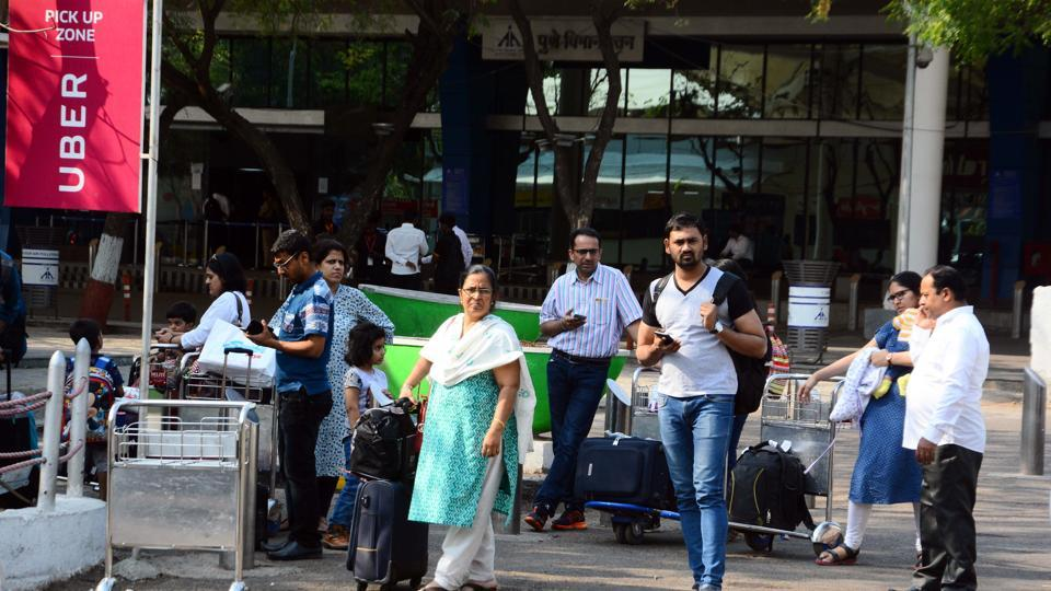 Passengers struggle to find OLA and UBER cabs at Pune airport as Ola and UBER drivers went on strike on Monday.