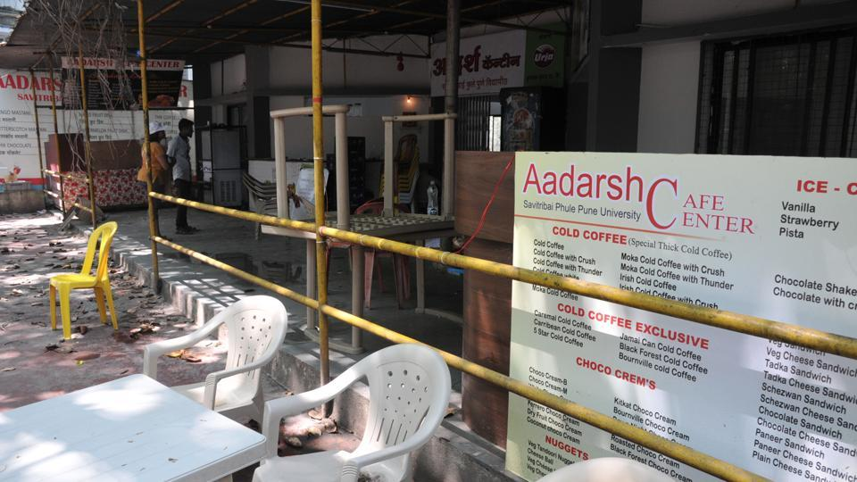 Closed Adarsh canteen at SPPU in Pune, on Monday.
