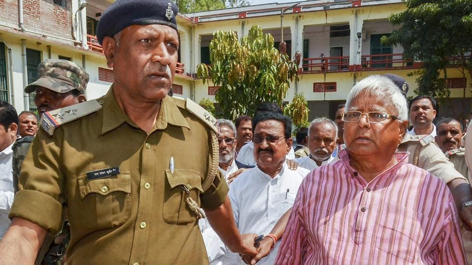 Former Bihar chief minister and Rashtriya Janata Dal chief Lalu Prasad was found guilty in the fourth fodder scam case by a CBI court in Ranchi. The case involves fraudulent withdrawals of Rs 3.76 crore from Dumka treasury, which is now in Jharkhand, between December 1995 and January 1996 when Prasad was the chief minister of Bihar. He had already been convicted in three fodder cases. (PTI File)