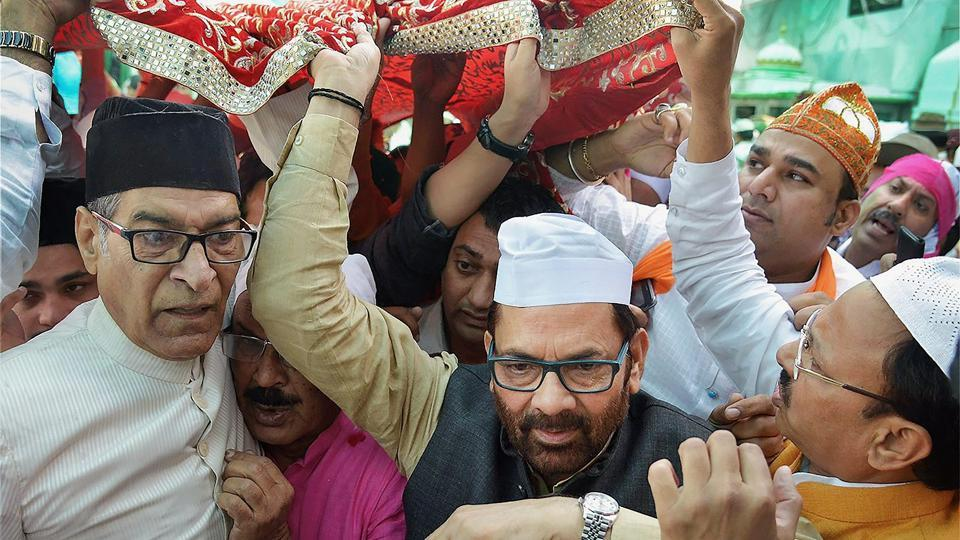 Union minister Mukhtar Abbas Naqvi offers 'Chadar' at the majar of Sufi saint Khwaja Moinduddin Chisti in Ajmer Sharif on behalf of Prime Minister Narendra Modi, on Monday.