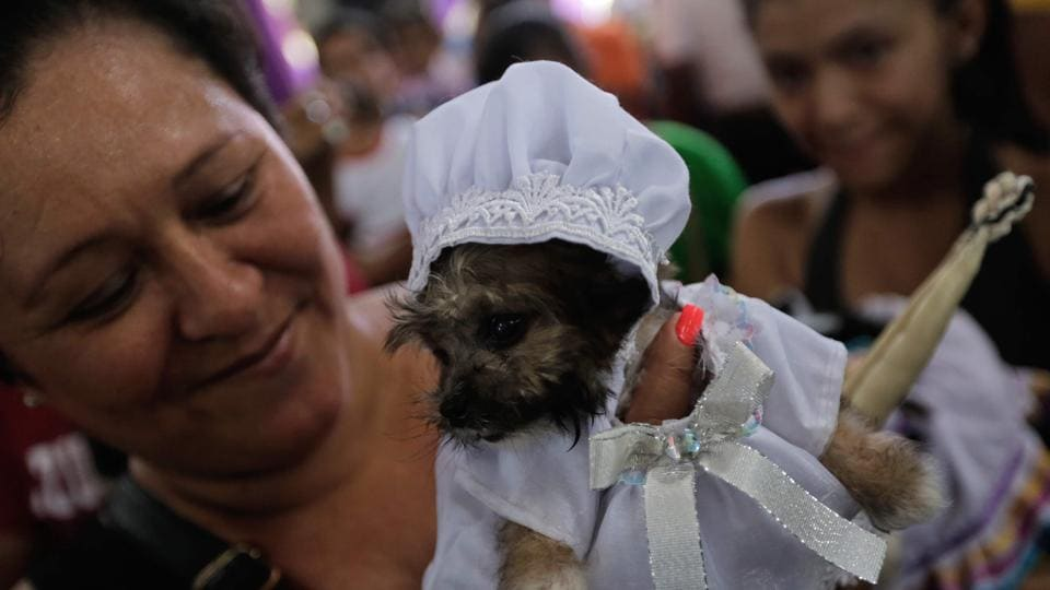 A woman holds a puppy during a mass for Saint Lazarus at Monimbo neighbourhood in Masaya on March 18, 2018.