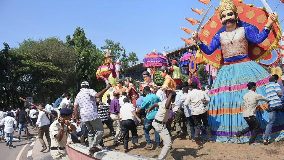 Police lathicharge mining industry workers protesting, in Panaji, Goa on Monday.