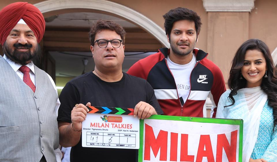 The team of Milan Talkies on the Lucknow sets.