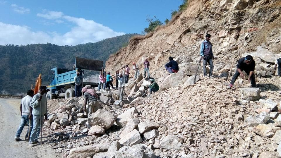 Widening of the Char Dham road in progress.