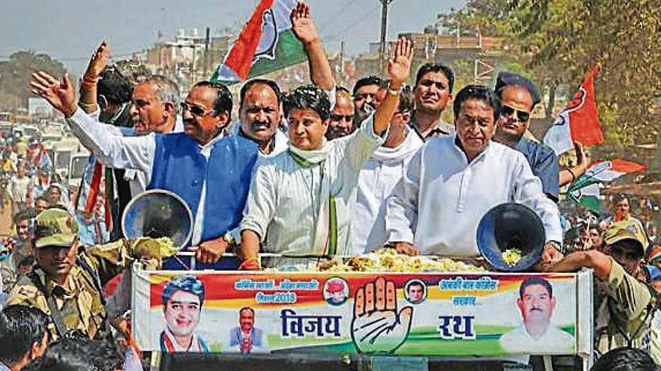 Congress leader Jyotiraditya Scindia with party leaders at a road show ahead of the Kolaras bypoll in Madhya Pradesh in February.