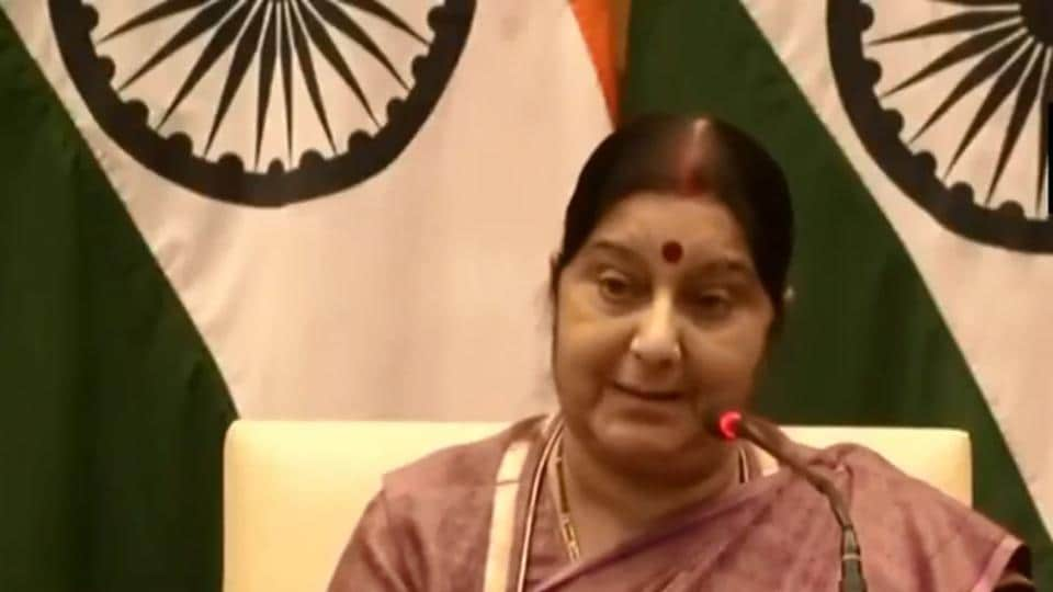 Sushma Swaraj addressing a press conference on Tuesday.