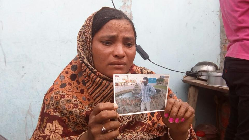 "Seema Devi, wife of Sonu, resident of Chawinda Devi village. Sonu was among those who died in Iraq. ""Government kept on making promises to us,"" she said."