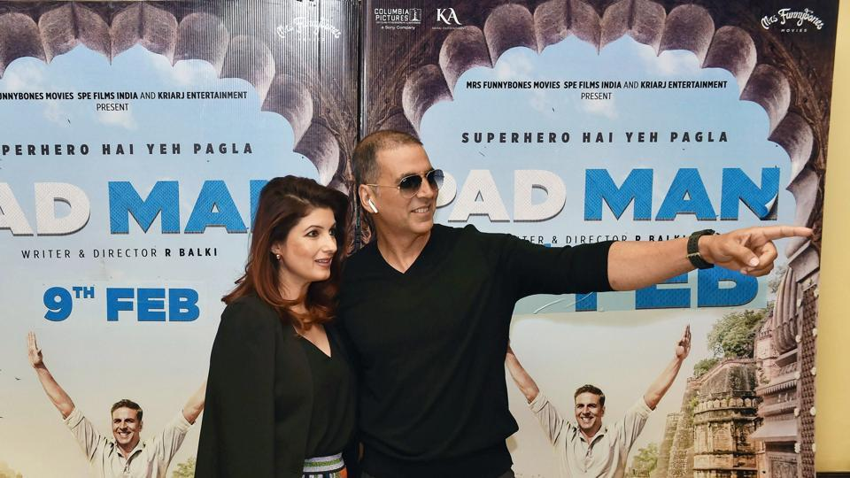 Akshay Kumar with his wife Twinkle Khanna during a promotional event for his film Padman.