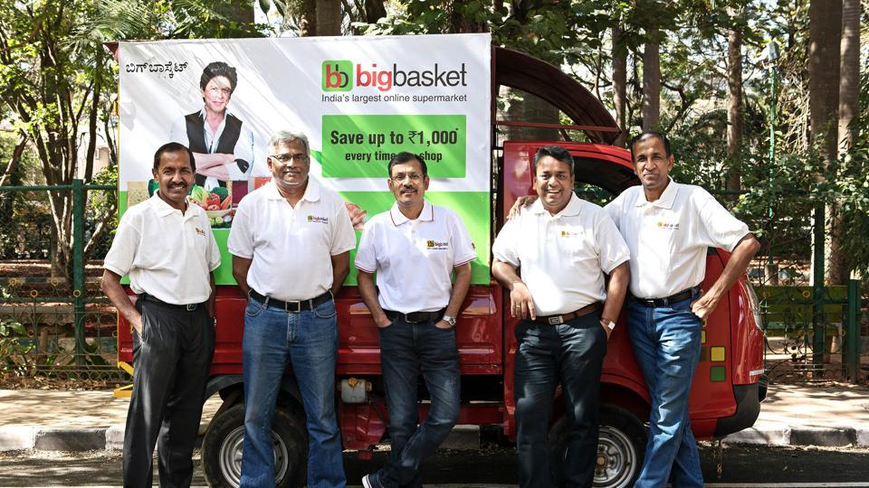 Founding members of Bigbasket. From left: VS Ramesh, Hari Menon, Vipul Parekh, Abhinay Choudhari and VS Sudhakar.