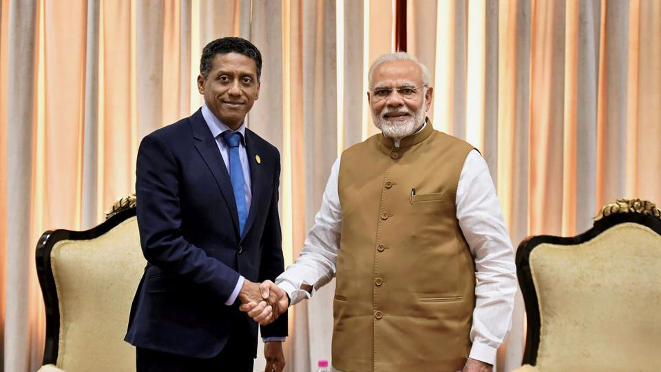 Prime Minister Narendra Modi meeting with Danny Faure, President of Seychelles on the sidelines of the International Solar Alliance (ISA) Summit, in New Delhi.