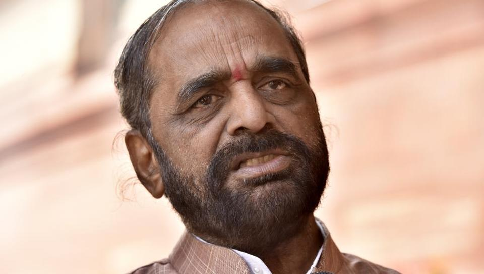 Union minister Hansraj Gangaram Ahir addresses at the Parliament House in New Delhi.