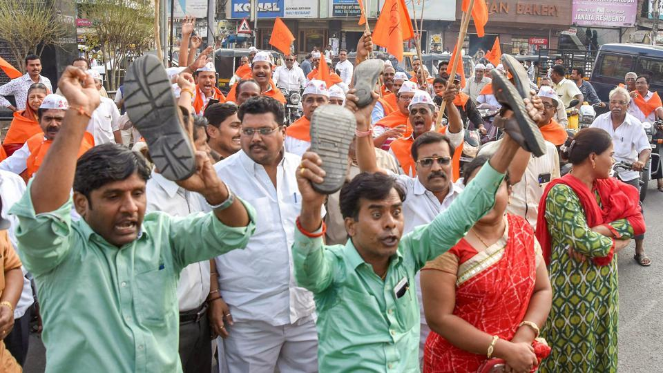 People belonging to Veershaiva Community protest against Karnataka government's move to accept Lingayats as a separate religion, in Kalburgi.