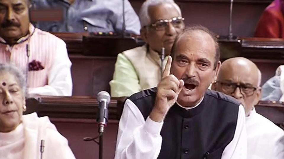 Senior Congress leader Ghulam Nabi Azad speaks in the Rajya Sabha during the second phase of budget session, on Tuesday.