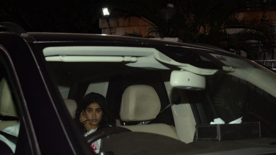 Sridevi's daughter Janhvi Kapoor seen at her brother and actor Arjun Kapoor's residence in Mumbai.