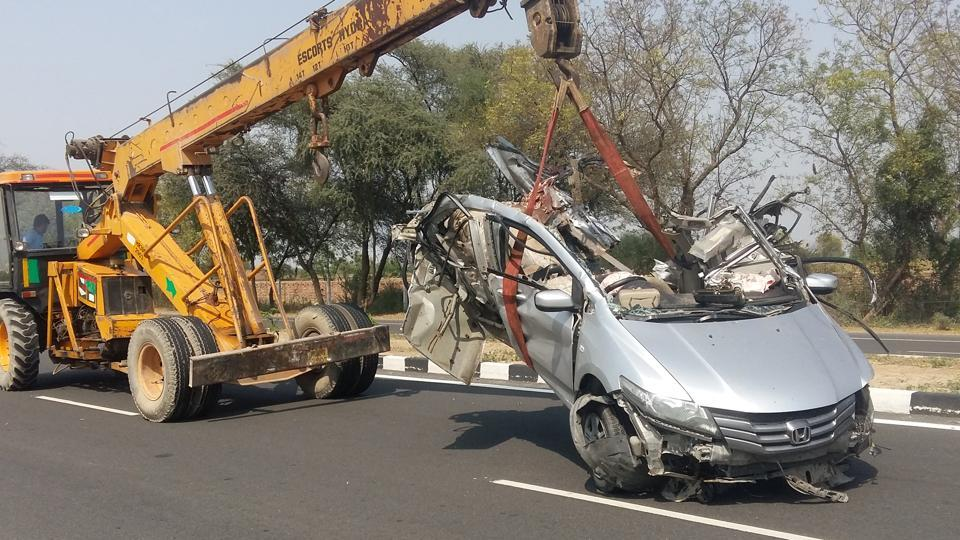 Mangled remains of the car that collided with a bus near Hisar on Wednesday.