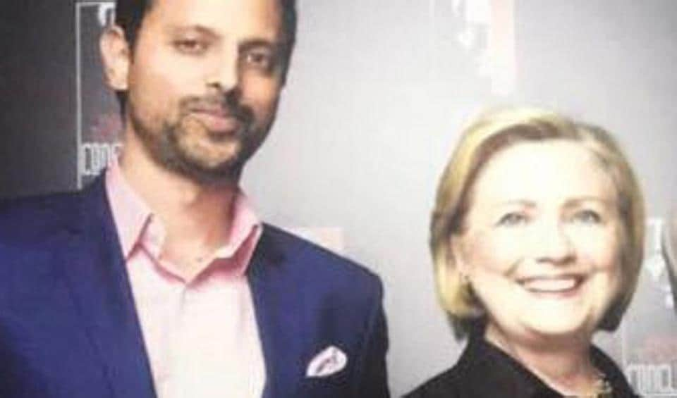 Mukul Deora with Hillary Clinton during her recent visit to the city.
