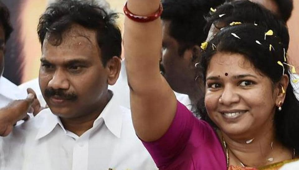 DMK leader and former Union Minister A Raja and his party colleague and Rajya Sabha MP Kanimozhi being welcomed following their acquittal in 2G Telecom case by a special court upon their arrival at the airport in Chennai.