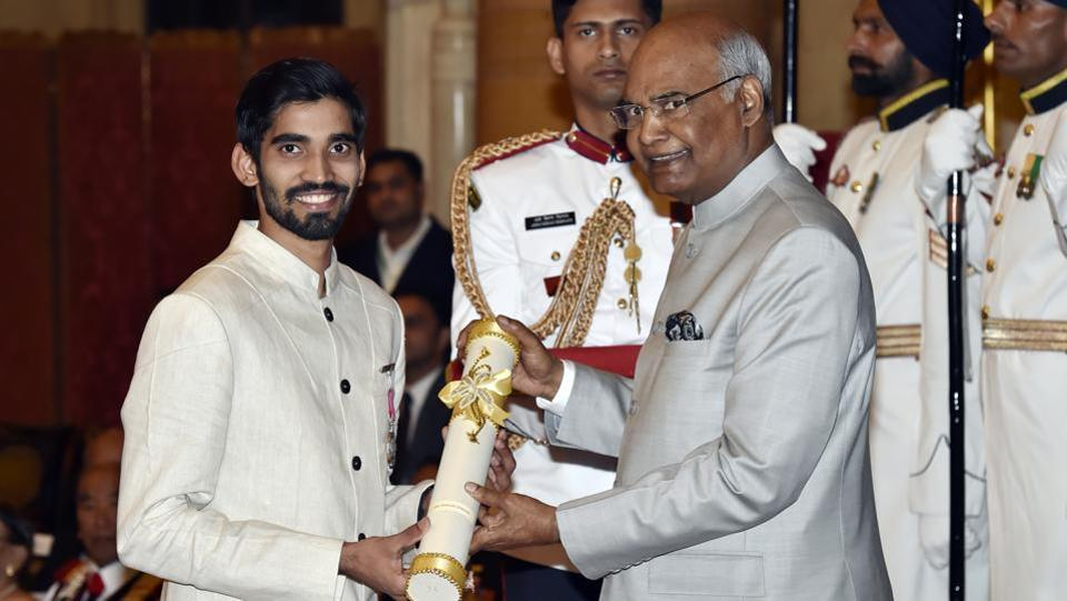 At 25, badminton player Kidambi Shrikanth became the  second youngest sportsperson in India to have got the Padma Shri.  P.V. Sindhu received the prestigious award at the age of 19.  Besides Shrikanth former Indian cricket team skipper MS Dhoni and cueist Pankaj Advani were conferred with the country's third-highest civilian award, Padma Bhushan. (Ajay Aggarwal / HT Photo)