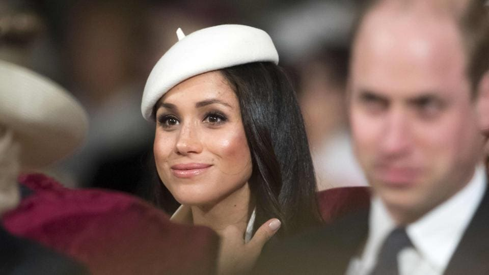 Prince Harry's fiancee, Meghan Markle attends a Commonwealth Day Service at Westminster Abbey in central London.