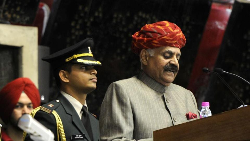 Punjab governor VP Singh Badnore addressing the legislators on the first day of the budget session in the Punjab Vidhan Sabha in Chandigarh on Tuesday.