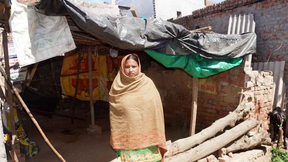 Manjeet Kaur showing her under-construction house at Lohgarh village Zirakpur.
