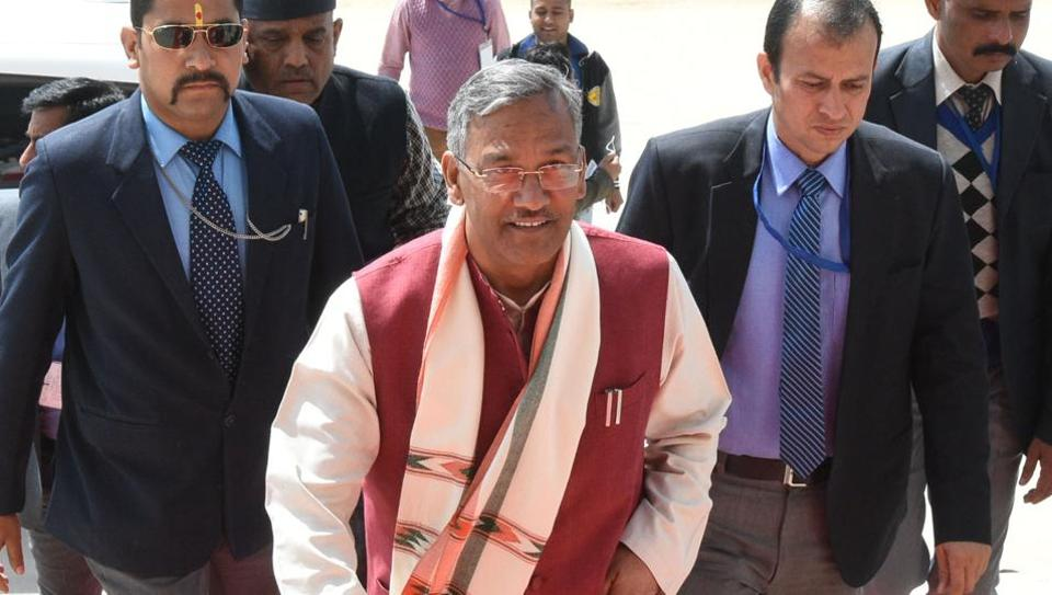 Chief minister TS Rawat arrives to attend the second day of ongoing budget session at Gairsain assembly, Wednesday.