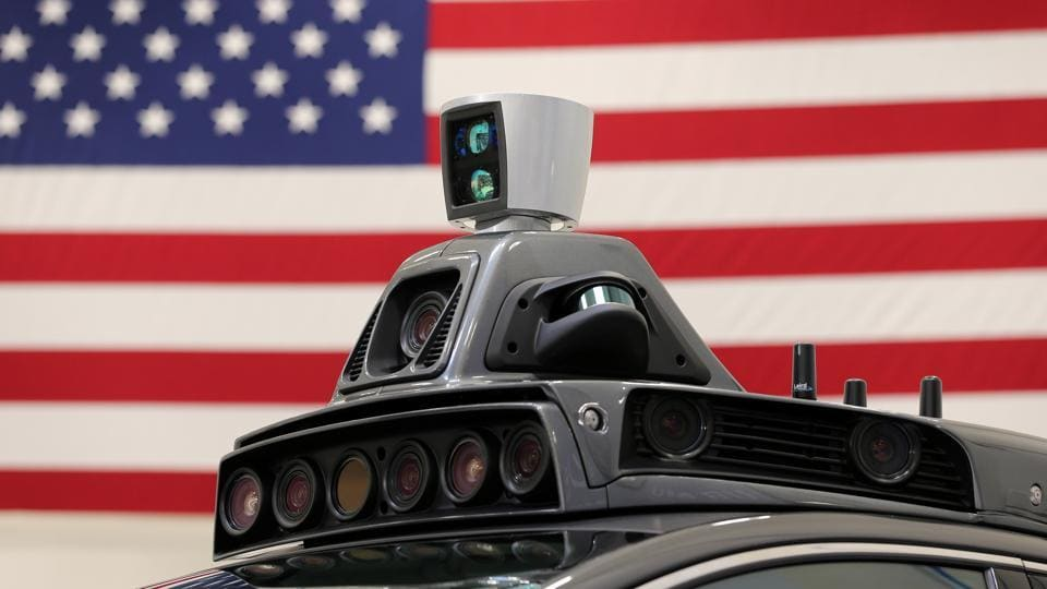 A roof mounted camera and radar system on Uber's Ford Fusion self-driving car during a demonstration of self-driving automotive technology in Pittsburgh, Pennsylvania, United States (File Photo)