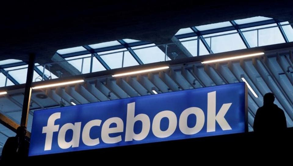 Facebook logo is seen at a start-up companies gathering at Paris' Station F in Paris, France, on January 17.
