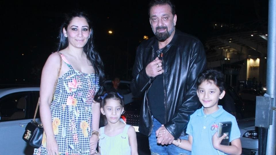 Actor Sanjay Dutt and his wife Maanayta and twins Iqra and Shahraan at a restaurant in Mumbai.