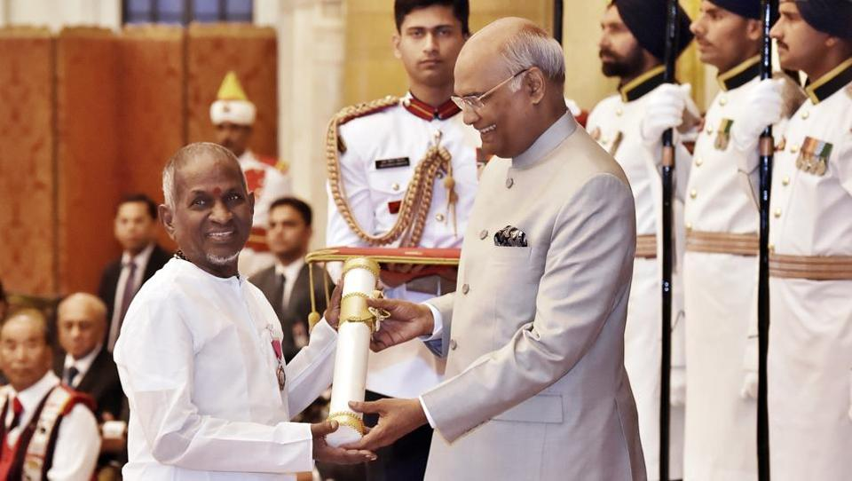 "President Ram Nath Kovind presents Padma Vibhushan award to noted music composer  Ilaiyaraaja at Rashtrapati Bhawan. Keeping its promise of honouring ""unsung heroes"", the government this year honoured with Padma awards several personalities who served the poor, set up free schools and popularised tribal arts globally. (Ajay Aggarwal / HT Photo)"