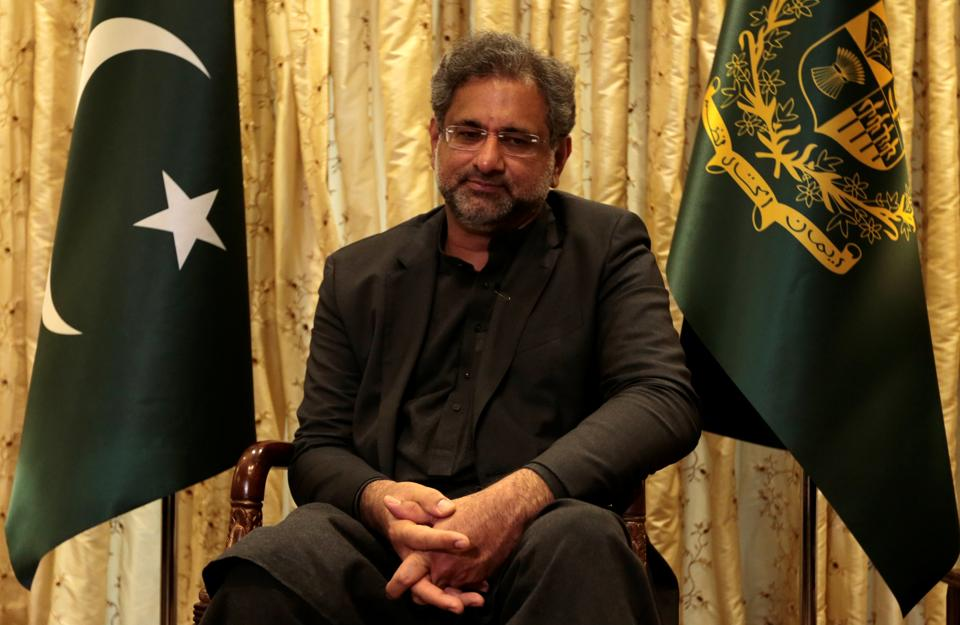 Pakistan Prime Minister Shahid Khaqan Abbasi listens during an interview with Reuters in Islamabad on January 22, 2018.